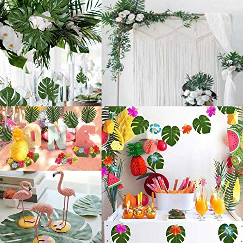 Johouse 68PCS Artificial Palm Leaves with Faux Monstera Leaves Stems Tropical Plant Simulation Safari Leaves for Hawaiian Luau Party Jungle Beach Theme Party Table Leaves Decorations,7 Kinds