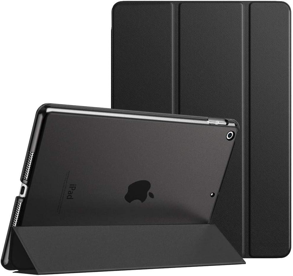 MoKo Funda para Nuevo iPad 8ª Gen 2020 / 7ª Generación 2019, iPad 10.2 Case, Ultra Delgado Función de Soporte Protectora Plegable Cubierta Inteligente Trasera Transparente - Negro
