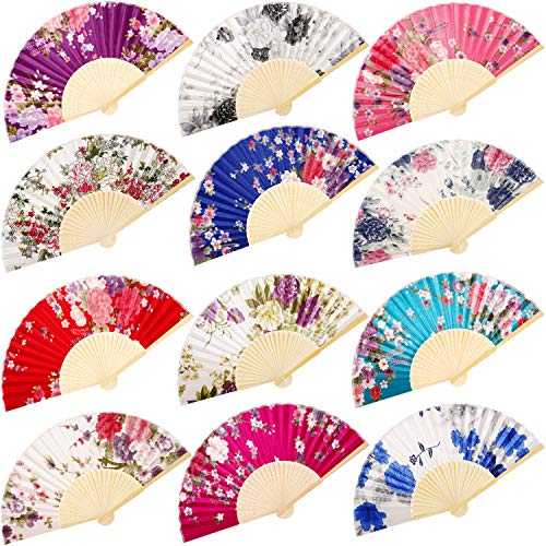 (Chuangdi 12 Pieces Hand Held Fans Silk Bamboo Folding Fans Flower Printed Fans Handheld Folded Dance Fans for Wedding Gift Party Favors (Rose Pattern))