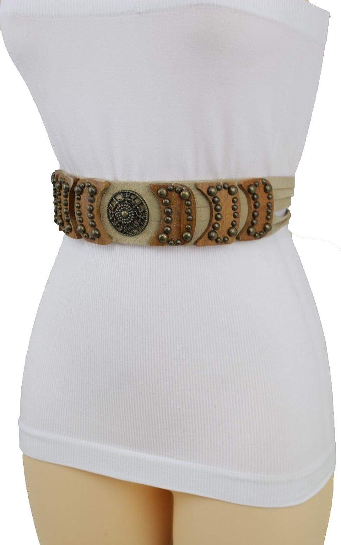 Women Fashion Belt Hip Waist Brown Faux Suede Antique Gold Metal Buckle S M L