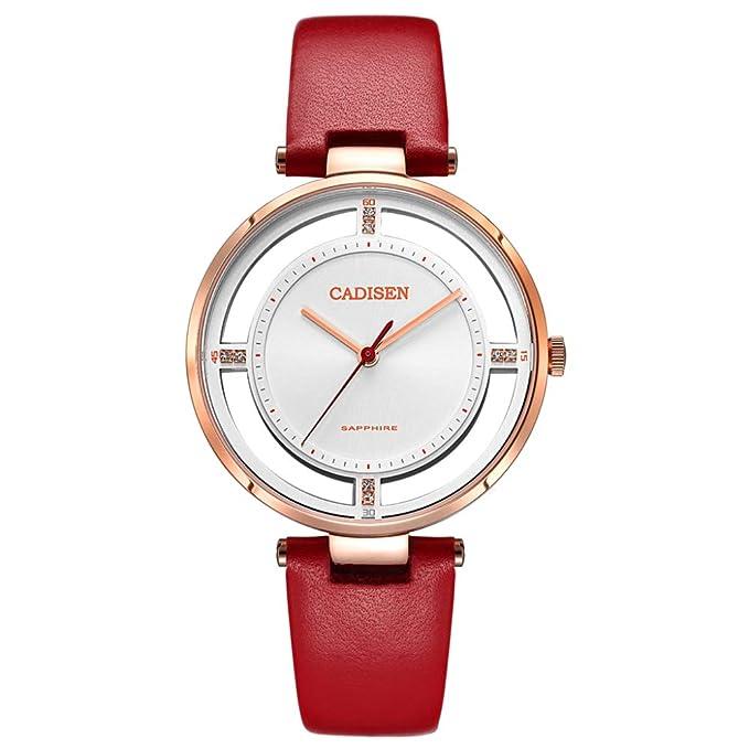 Reloj De Mujeres Creativas, Personalidad De Moda Ladies Girl Reloj De Cuarzo De Doble Cara Hueco De La Correa De Cuero De La PU A Prueba De Agua,Red-19.5cm: ...