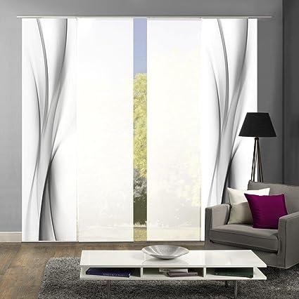 abitiamo< 94095 Flächenvorhänge 4er-Set UFA, in grau oder rot, Flächenvorhang Rochelle + Uni-Flächenvorhang ROM | Farbe des S