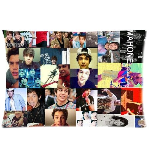 America Texas Pop Rocker Star Austin Mahone Collage Custom Cotton & Polyester Soft Rectangle Pillow Case Cover 20X30 (One Side) For Fans Design