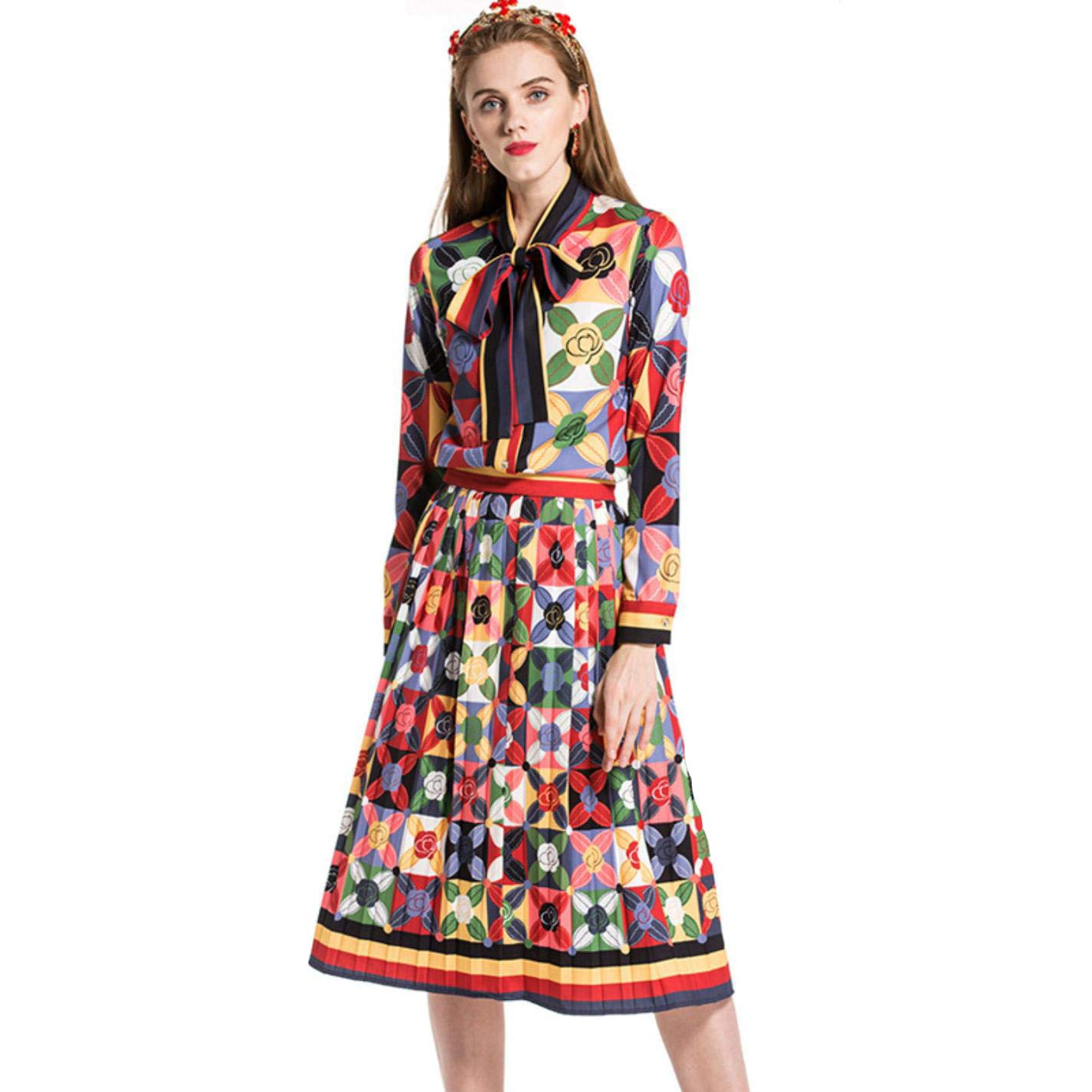 Women Long Sleeves Printed Bow Shirt with Pleated Skirts Fashion Dress Sets