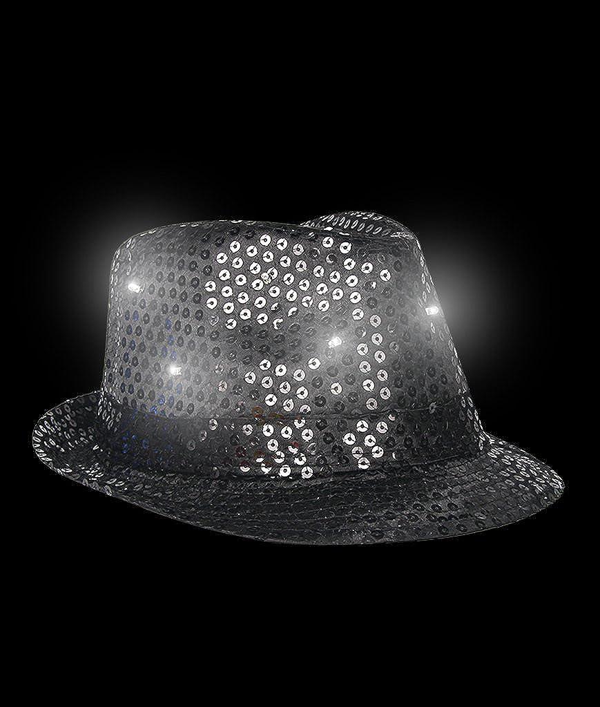 LED Light Up Sequin Fedoras Hats for Men /& Women Black