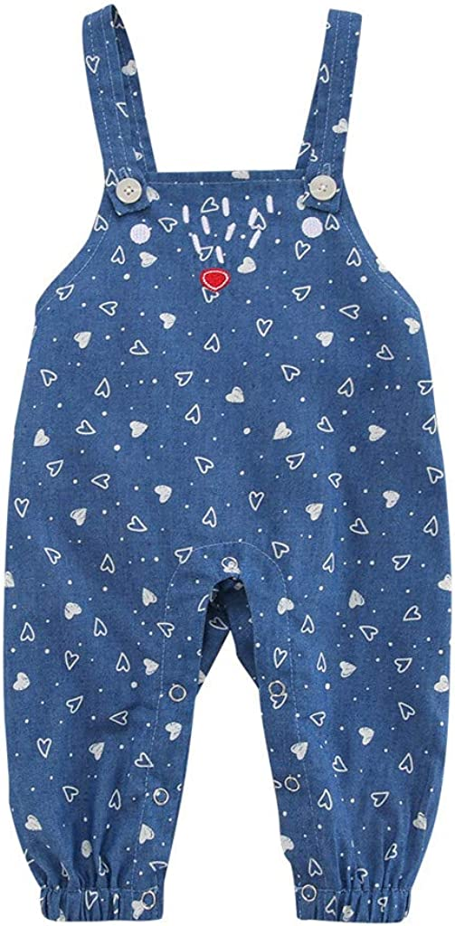 Baby Girls Love Heart Print Casual Overalls Straps Pants Trouser Clothes