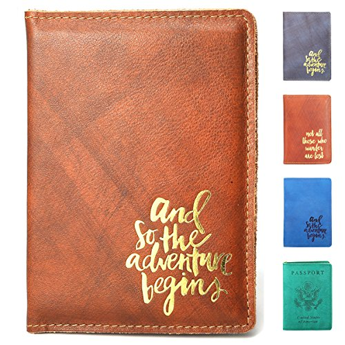 SanSiDo RFID Blocking Leather Passport Cover Passport Holder Travel Wallet Passport Wallet Case - FULL GRAIN LEATHER - What Brown Gold Is