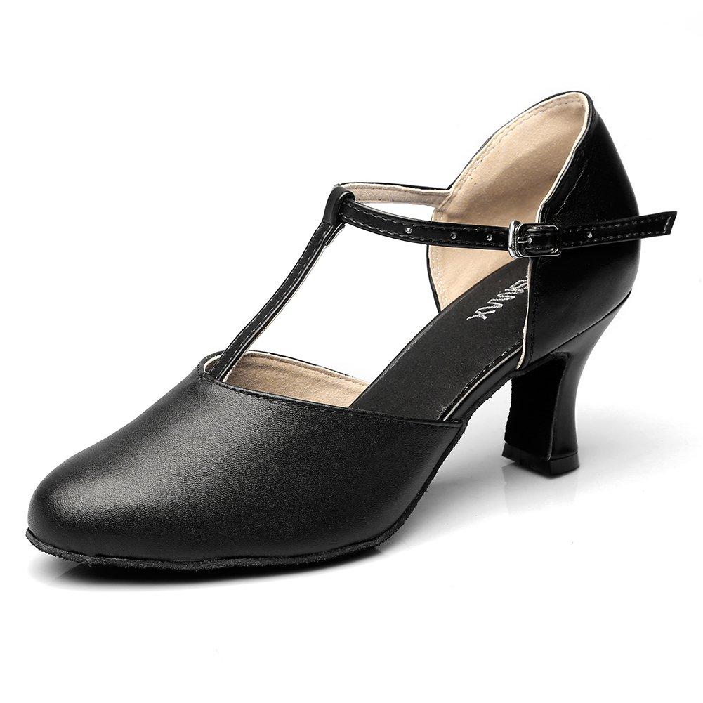 MSMAX Womens Black Leather 2.75'' Heel Latin Social Dance Shoe,10M