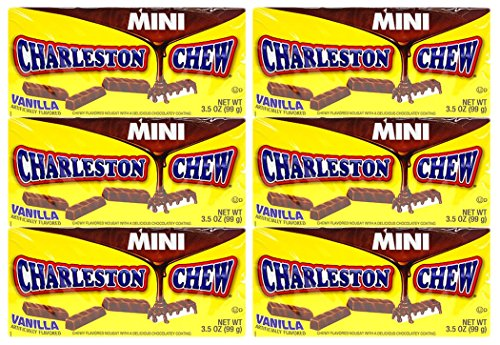 Set of 6 Mini Charleston Chew Vanilla Flavored Theater Boxes! (Chews Theater Box)