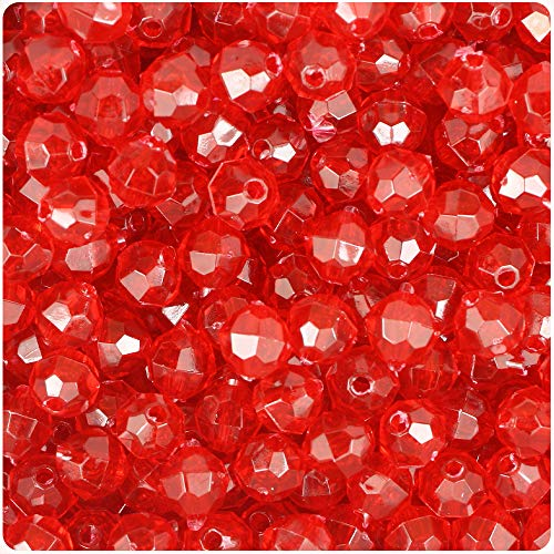 (BeadTin Ruby Transparent 8mm Faceted Round Craft Beads (450pcs))