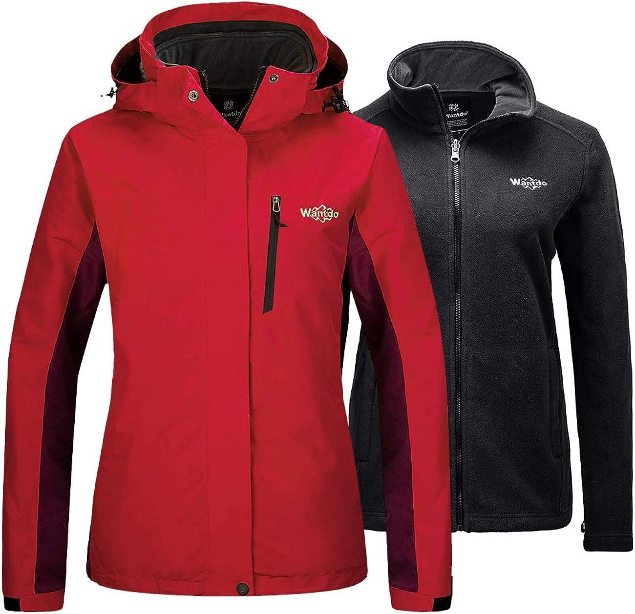 Wantdo Women's Waterproof 3 in 1 Ski Jacket Warm Fleece Winter Coat Rain Jacket