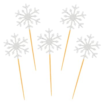 aneco 80 pack snowflake cupcake toppers glitter snowflake cake topper picks decor for christmas themed party