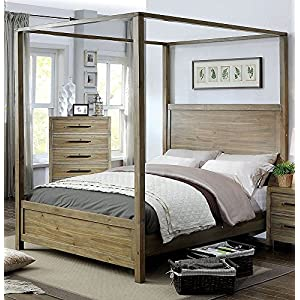 Furniture of America Garland Light Oak Wood Canopy Queen Bed,