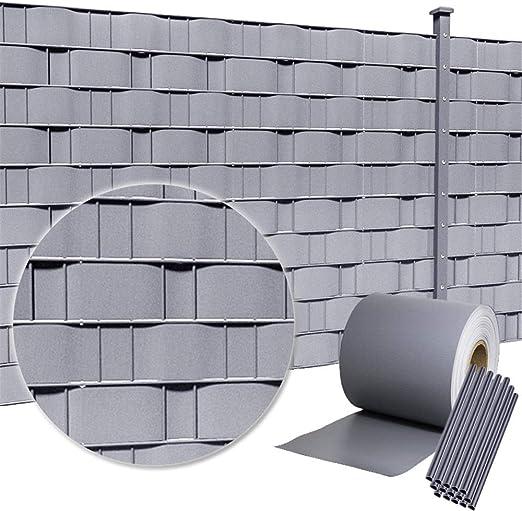 HENGMEI 65m x 19cm PVC Valla Tiras de Protectora de privacidad Pantalla Proteción visual jardín terraza, gris claro: Amazon.es: Jardín
