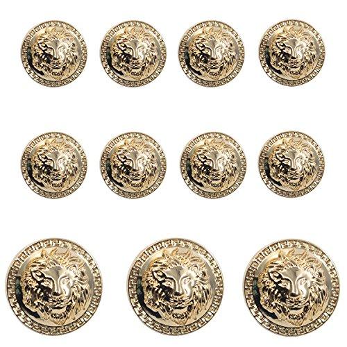 Antique Gold Button (11 Pieces Gold Vintage Antique Metal Blazer Button Set - 3D Lion Head - For Blazer, Suits, Sport Coat, Uniform, Jacket)