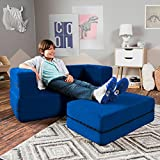 Jaxx Zipline Kids Loveseat / Flip Open Lounger & Large Ottoman, Big Kids Edition, Blueberry
