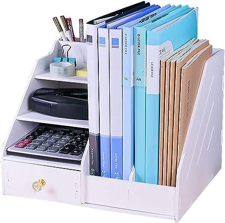 LIXMZZWJ Estantería de Escritorio de 4 Niveles, de Madera con Estuche para Libros y Estante para Almacenamiento de bolígrafos o teléfonos: Amazon.es: Hogar