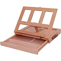 Table Top Easel Adjustable Desk Easel for Painting, Portable Foldable Paint Box Wooden Easel with Handle and Storage…