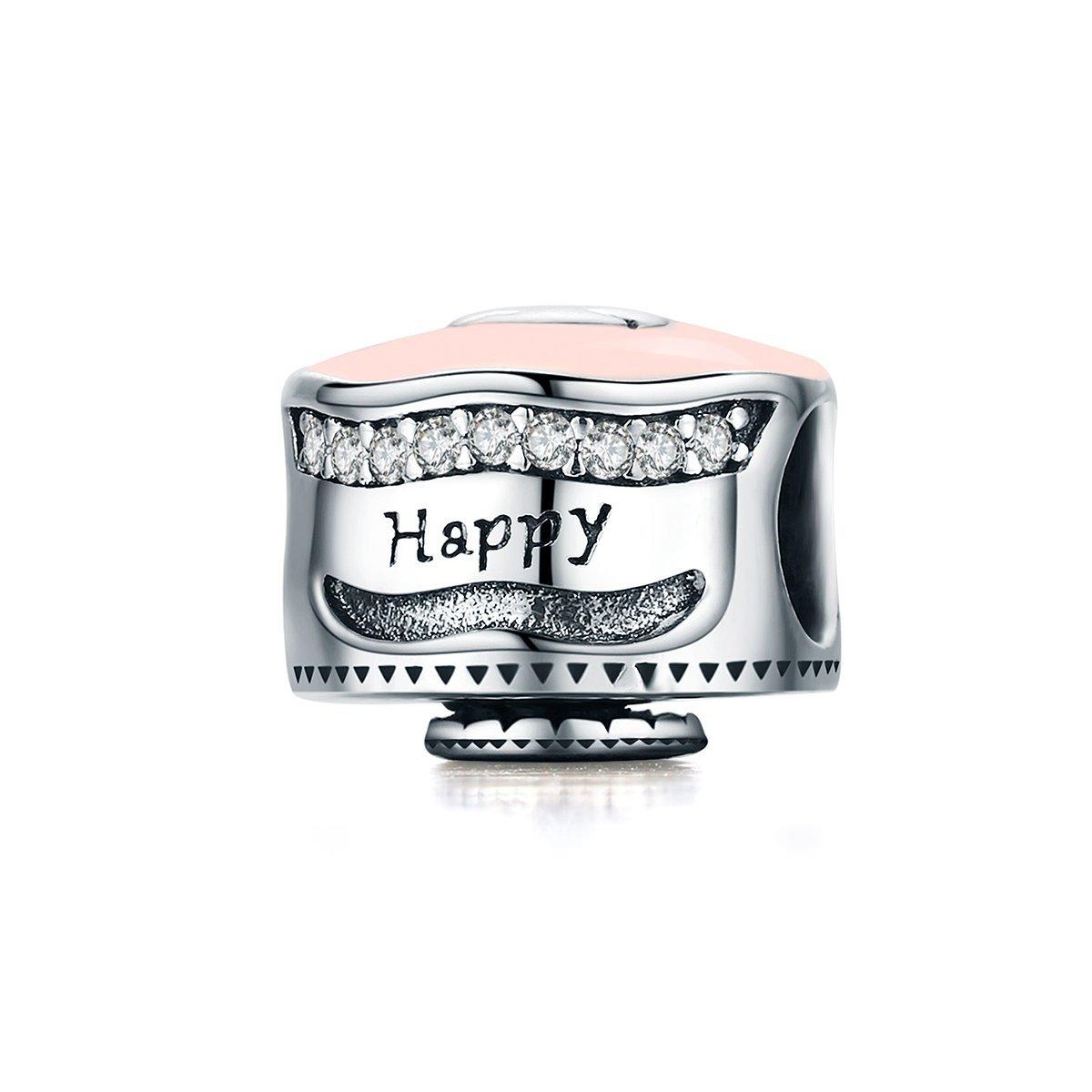 The Kiss Happy Birthday Cake Pink Enamel 925 Sterling Silver Bead Fits European Charm Bracelet