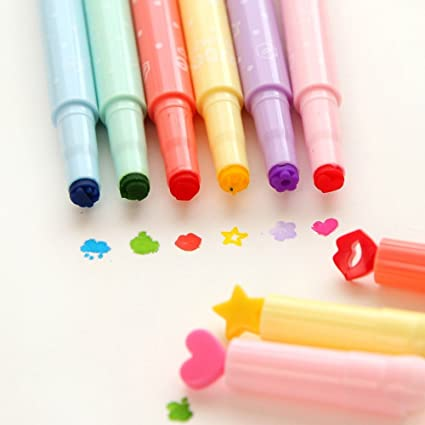 Kawaii Stamp Markers Watercolor Pen For School Supplies Pack Of 6