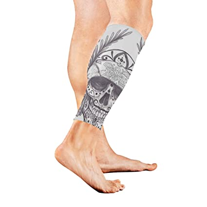 ee031c9a12 Amazon.com: SHNUFHBD Calf Sleeve Skull Tattoo Compression Protective Guard  for Men Women - Basketball Football Run (1 Pair): Sports & Outdoors
