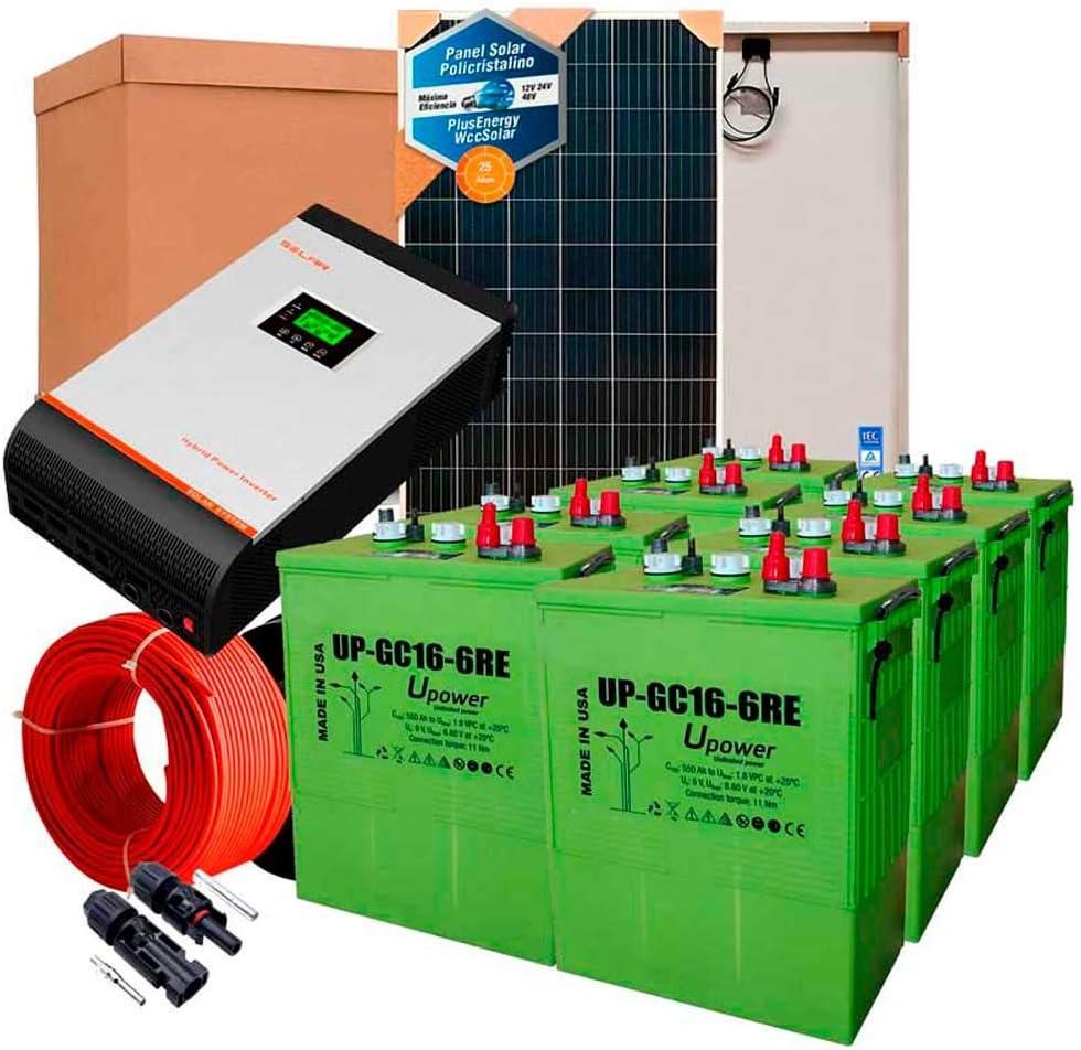 Kit Solar 24v 1000w/5000w día Inversor Multifunción 5kva Regulador MPPT 80A Batería UP-GC16 600Ah