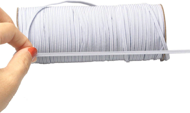 Toomyeen White 190 Yards Length 1//4 Width Braided Elastic Cord//Elastic Band//Elastic Rope//Bungee//White Heavy Stretch Knit Elastic Spool
