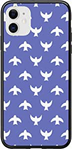 Okteq Case for iPhone 11 Case Shock Absorbing PC TPU Full Body Drop Protection Cover matte printed - blue white birds By Okteq