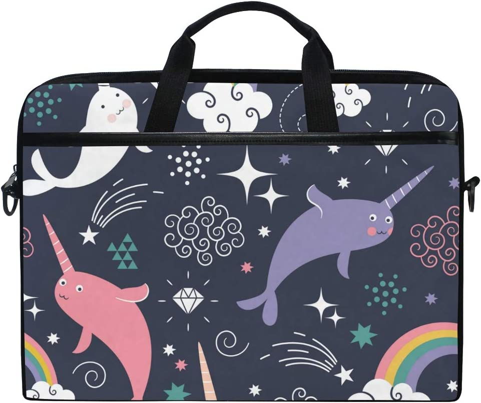 MAHU Laptop Sleeve Case Bag Rainbow Dolphin Narwhals Messenger Bag Travel Briefcase with Shoulder Strap for 14-14.5 inch Lenovo Dell HP MacBook
