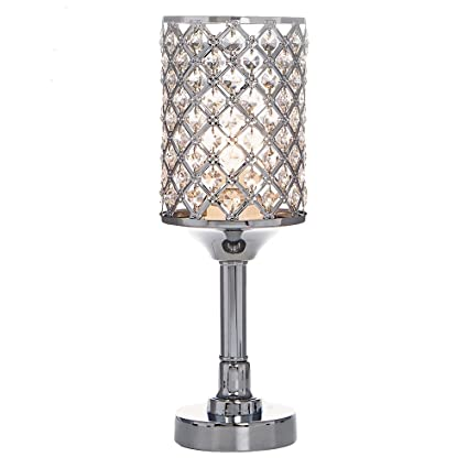 POPILION All Match Style Romantic Atmosphere Bedroom Crystal Table  Lamp,Inlaid Rhombus Crystal