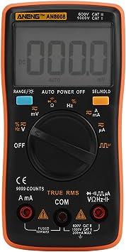 Aneng Digital Multimeter An8008 Ac Dc Voltmeter Mit Automatischer Bereichswahl Elektronisches Ohm Volt Spannung Strommessgerät Multi Tester Diode Durchgangsprüfer Meter Mit Hintergrundbeleuchtung Baumarkt