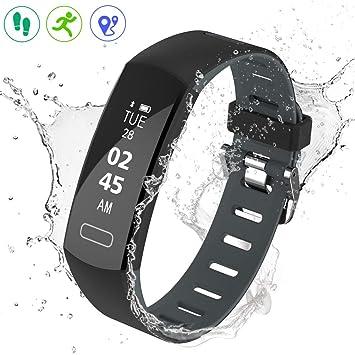Pulsera Actividad prueba de agua reloj podómetro de contador de pasos, contador de calorías de monitor de sueño, recordatorio de llamadas / SMS: Amazon.es: ...