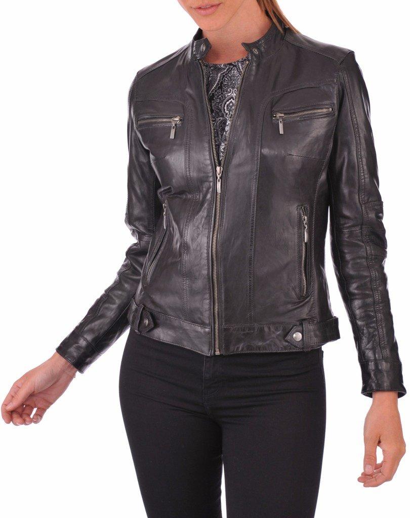 Prim leather Women's Lambskin Leather Bomber Biker Jacket X-Large Black