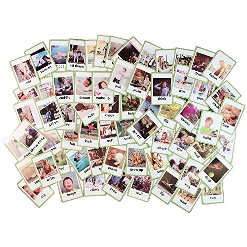 (Baby Favors Educational Live Picture Cards of Verbs 66 pc. set for Children ages Preschool Pre-K, thru Grade School for Parent, Teachers, Therapists to Help develop early English Language)