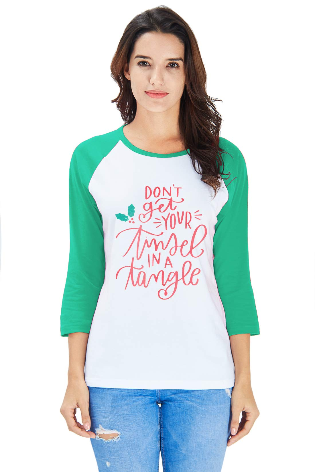 AIDEAONE Women Ladies Christmas Green Prints 3/4 Sleeve Raglan Casual T-Shirt Tops