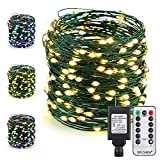 ER CHEN Color Changing LED String Lights Plug in with Remote, 72Ft 200 LED Green Copper Wire Fairy Lights 8Modes Christmas Lights with Timer for Bedroom, Patio, Garden, Yard-Warm WhiteΜlticolor