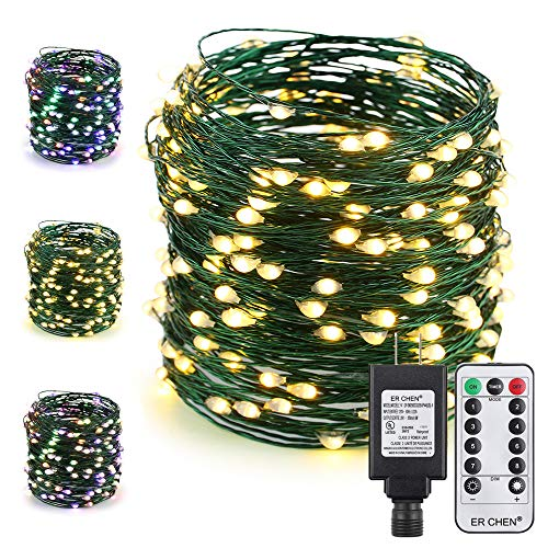 - ER CHEN Color Changing LED String Lights Plug in with Remote, 72Ft 200 LED Green Copper Wire Fairy Lights 8Modes Christmas Lights with Timer for Bedroom, Patio, Garden, Yard-Warm White&Multicolor