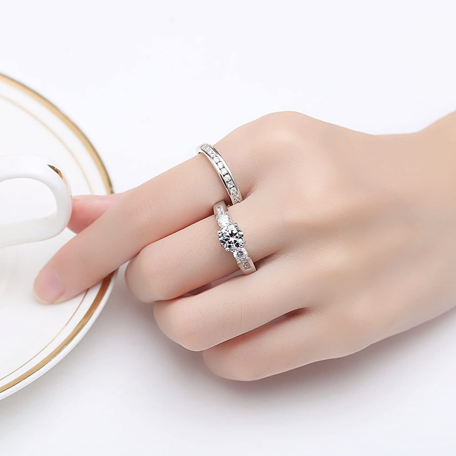 Amazon.com: BAMOER White Gold Plated Copper With Sparkling Cubic ...
