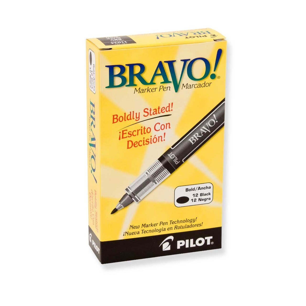 Pilot Bravo Bold Point Marker Pen - Black - 12-Pack by Pilot (Image #1)