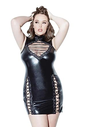 Amazon.com: Coquette D9313X Women\'s Plus Size Wet Look Lace Up Dress ...