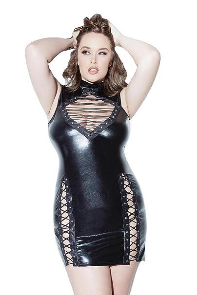 Coquette D9313X Women\'s Plus Size Wet Look Lace Up Dress