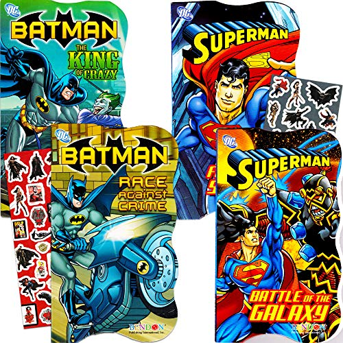 (DC Comics Batman vs Superman Board Books for Toddlers - Set of 4 Books (2 Batman Books, 2 Superman Books) with Bonus Batman vs. Superman Stickers )