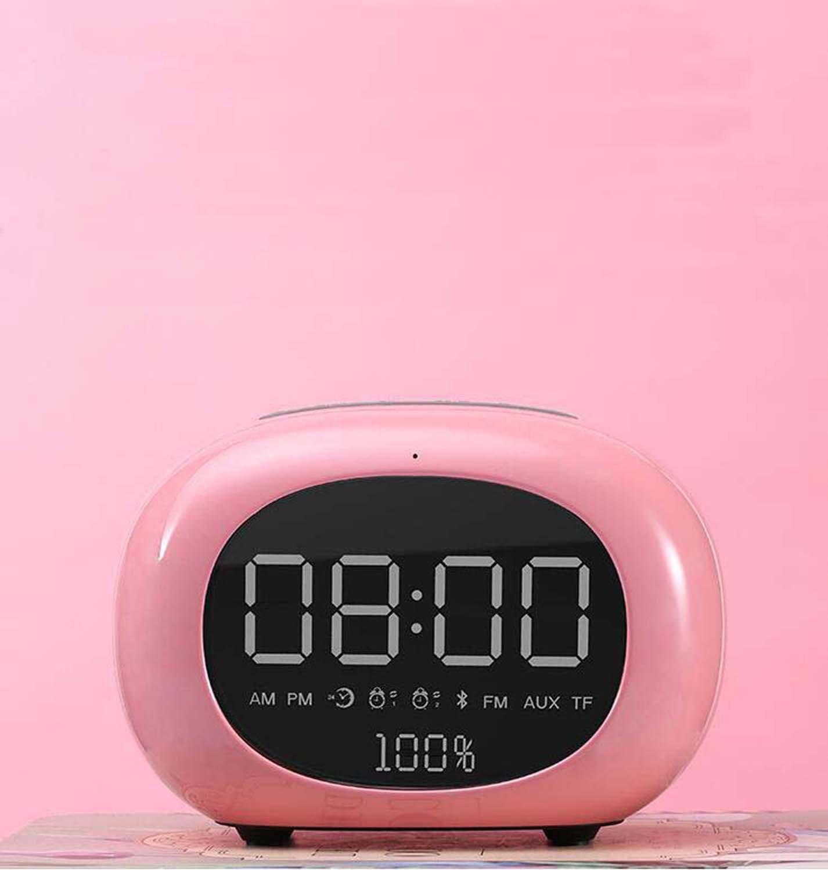 Hzhy Creative Wireless Bluetooth Speaker Mini Mobile Alarm Clock Small Audio Computer Car Subwoofer Desktop Mirror Audio (Color : Pink)