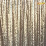 LQIAO 20FTx10FT Champagne Shimmer Sequin Fabric Backdrop Sequin Curtains Wedding Photo Booth Photography Backdrops for Party/Window/Home Decoration