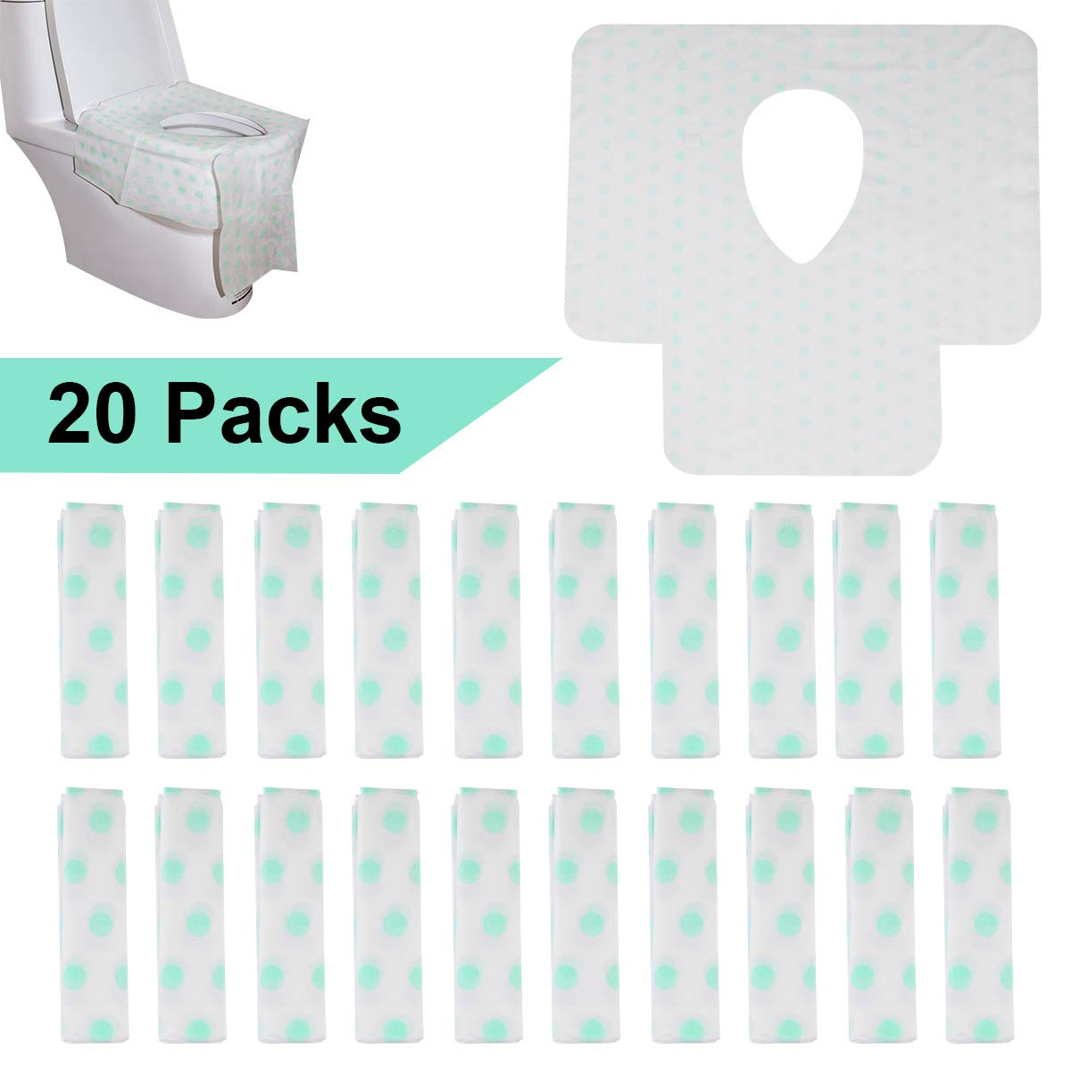 Disposable Toilet Seat Covers-Extra Large Size Non Slip Travel Portable Toilet Potty Training Seat Covers,for Both Kids and Adults (20 Pack)