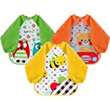Lictin Bibs with Sleeves EVA Baby Bib 3pcs Waterproof Unisex Waterproof Long Sleeved Bib EVA Baby Bandana Drool Baby Bib Apron Baby Drool Bibs for Infant Toddler 6 Months to 3 Years Old(M)