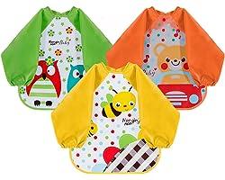 Lictin Bibs with Sleeves EVA Baby Bib 3pcs Waterproof Unisex Waterproof Long Sleeved Bib EVA Baby Bandana Drool Baby Bib Apro