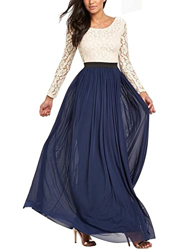 Ssyiz Women's Long Sleeve Lace Floral Chiffon Party Dress Evening Gown