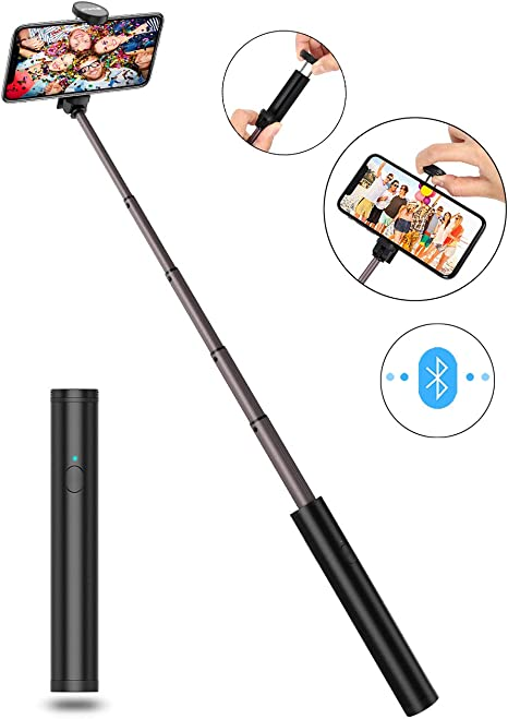 Tr/épied JTWEB Selfie Stick 3 en 1 Extensible avec tr/épied cach/é /à Distance sans Fil pour iPhone X//iPhone 8//8 Plus//iPhone 7//7 Plus Galaxy S9 // S9 Plus // S8 // S8 Plus//Note 8 Huawei