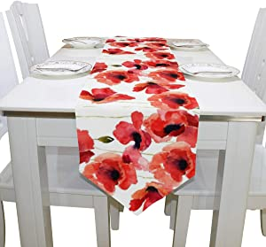 ASVIP Poppy Long Table Runners 13 x 90 Inch, Watercolor Red Poppy Flowers Floral Rectangle Polyester Double Sided Table Runner for Kitchen Dining Wedding Party Holiday Home Decor